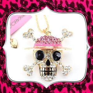 Betsey Johnson Woman Pink skull in hat - Pendant